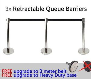 3x Queue Barriers Crowd Control 3 meter Retractable Belt stanchions