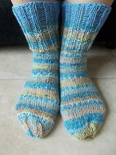 Hand knitted wool blend socks, gradient light blue/beiges/gray with blue trim