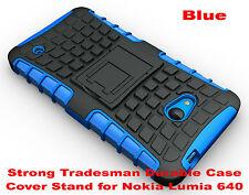 Blue Strong Heavy Duty Durable Tradesman TPU Case Cover For Nokia Lumia 640