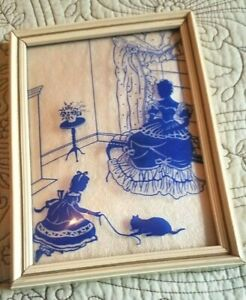 Vint.Reverse Painted Blue Victorian woman, girl & cat,Convex-Bubble Glass-Framed