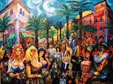 CARNIVAL ESPANOLA MIAMI BEACH FLORIDA Roussimoff Painting CELEBRATES MARDI GRAS