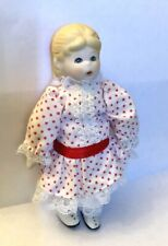 Vintage~Bisque & Cloth~Penny Doll ~Frozen Charlotte~ Girl & Red Hair Bow ~ Russ