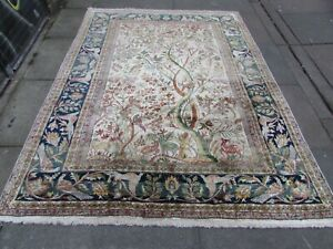 Fine Vintage Hand Made Traditional Oriental Silk White Large Rug 223x171cm