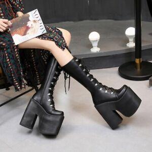 Womens Gothic Round Toe Block Heels Platform Lace Up Knee High Clubwear Boots SZ