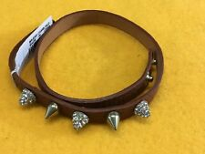 New Guess brown leather double wrap rhinestone stud gold tone bracelet Camel/GLD