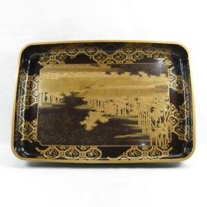 E0090: High-class Japanese old lacquer ware BIG tray with wonderful fine MAKIE