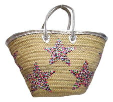 French Market Basket Sparkling Sequin & Leather Straw Bag With Stars