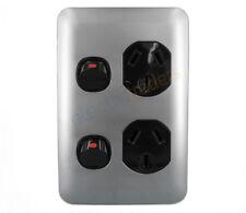 Transco Double Power Point Vertical Wafer Slimline GPO Slim Black Silver