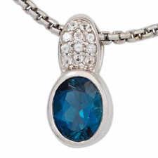 Unbehandelte ovale Echtschmuck-Halsketten & -Anhänger mit Blautopas-Hauptstein