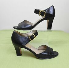 Vtg Salvatore Ferragamo Alligator embossed leather Heels Sandals Shoes 7.5 Aa