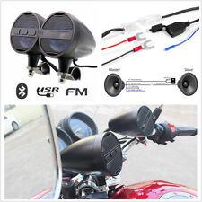 Motorcycle Aluminum Bluetooth Stereo Speakers Audio System USB Radio Waterproof