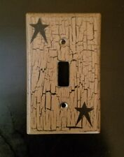 Primitive Crackle Tan & Black Star Single Light Switch Plate ~ Country Decor