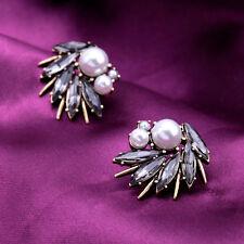 Boucles d`Oreilles Clous Doré Art Déco Tourbillon Perle Gris Vintage Baroque A8