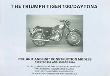 Triumph 500 Twins Detailed Specifications Motorcycle Book 1939-74 T100 Daytona