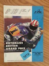 Donington circuit 1992 Programme GP angleterre championnat monde FIM moto