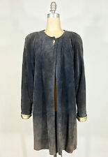 Vintage 1970's-80's Glam Purple-Grey soft Suede leather flare Jacket Coat w/gold
