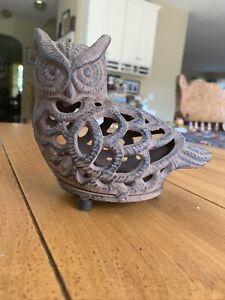 Vintage Cast Iron Owl Candle holder Garden Lantern Bird Lovers Decoration!
