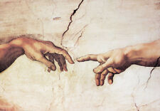 Poster Kunstdruck Die Erschaffung Adams Michelangelo Creation Hände Bild 100x70