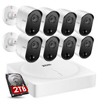 ZOSI 8CH H.265+ 5MP DVR 2TB Outdoor Security System 5MP Night View Bullet Camera