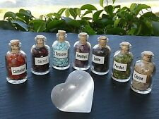 7 Mini Gemstone Bottles Chip Crystal Tumbled Gem Stones Set + Selenite Heart