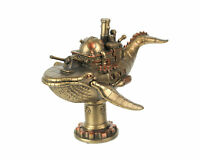 Zeckos Antique Bronze Finish Steampunk Blue Whale Warship Tabletop Statue