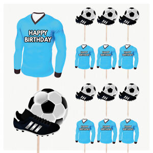 Football Cupcake Food Cake Decorations Picks Toppers MAN CITY COLOURS 14 Pack