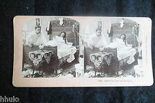 STB472 Scène de genre Couple lit chambre stereoview photo STEREO albumen