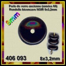 406093 *** 50 perles anciennes en verre rondelle NOIR biconcave 8mm