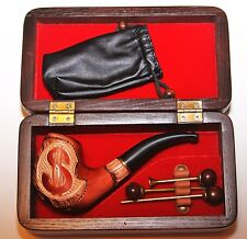 "Gift Set:smoking pipe ""Dollar"", Box for pipe & Accessories for cleaning"