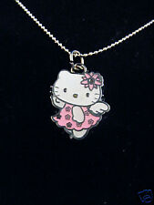"Hello Kitty Pink Angel wings necklace silver chain 1"" charm pendant"