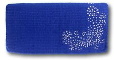 Tough-1 Blue Mini Wool Show Saddle Blanket w/ Silver Dots & Crystals Horse Tack