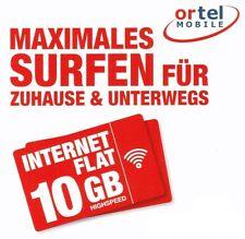 10GB Internet Flat - Ortel mobile sim - 10GB Daten Flat 30 Tage - 4G LTE nano