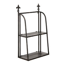 Premier Housewares 62x27.5x100cm 2 Tier Black Metal Shelf Unit Wall Mount