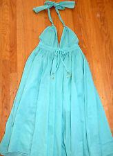 ** LAPIS ** Mint Green Crisp Cotton Halter Neck with Full Skirt Grecian Dress M