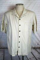 Havana Jack's Cafe Men's XL, Ivory Embossed Silk Hawaiian Shirt, Rockabilly Camp