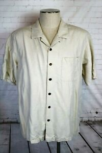 Havana Jack's Cafe Men's XL Ivory Embossed Silk Hawaiian Shirt, Rockabilly Camp