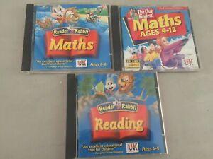 QTY 3 PC CDs Reader Rabbit Maths & Reading Ages 6-8  Maths Ages 9-12 Windows 98
