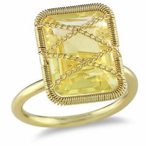 Amour Yellow or Rose Rhodium-plated Silver Gemstone Ring
