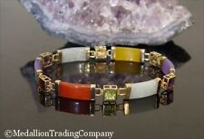 14k Multi Gemstone Red Garnet Yellow Citrine Green Lavender Jade Bar Bracelet