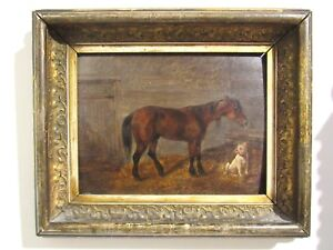 """Best Friends""; Horse And Dog In Stable; 19th Century Oil Painting On Wood"