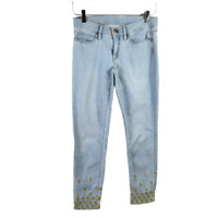 Lilly Pulitzer Womens South Ocean Skinny Crop Jeans Size 2 Light Blue Wash Denim