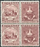 Australia 1950 SG239 2½d First Adhesive Stamp Centenary block MNH