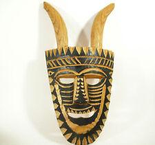 Carved Folk Art Wooden Face Mask Horns African Tribal ESTATE FIND