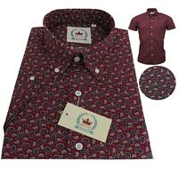 Relco Men's Paisley Short Sleeved Burgundy Button Down Collar 60's Mod Shirt