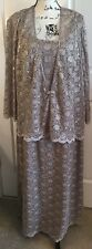 R & M Richards Sz 20W Sequin Lace 2 Pc Tan Taupe Dress Jacket Mother Of Bride
