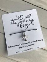 Let The Journey Begin Plane Message Card Wish Bracelet Leaving Travel Gift