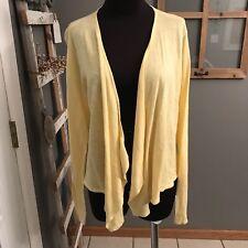 J.Jill Canary Yellow Linen Cotton Thin Knit Draped Open Front Cardigan Sweater M