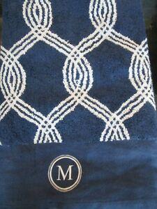 1 POTTERY Barn Teen Infinity stripe bath towel Monogrammed M  New