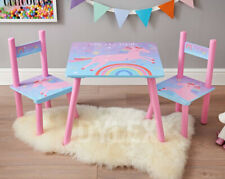 Children Kids Unicorn Top Wooden Table and 2 Chairs Set Activity Furniture Child