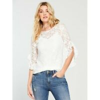V by Very Lace Fluted Sleeve Top Ivory MQTYY Size UK 10 VR151 023